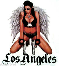 Sexy Gangster Chick City of Angels Pistols Tattoos Feathered Wings Vinyl Sticker