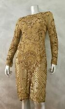 LILLIE RUBIN Vintage Gold Beaded Silk Gatsby Dress RARE!!
