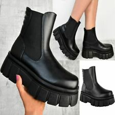 Womens Ladies Chunky Wedge Platform Black Faux Leather Punk Goth Ankle Boots New
