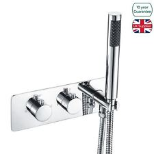 Bathroom 2 Dial 2 Way Concealed Thermostatic Round Valve Chrome & Shower Handset