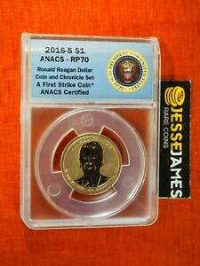 2016 S REVERSE PROOF RONALD REAGAN DOLLAR ANACS RP70 FS FROM COIN CHRONICLES SET