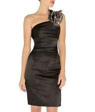 Karen Millen one shoulder Dress Sz 0 2 studded beaded rhinestone satin