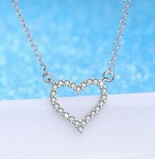 For Wife Women Love You I35 Silver Crystal Heart Pendant Necklace Birthday Gift