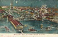 BROOKLYN NY – Coney Island by Night Glitter Covered Birdseye View Postcard – udb