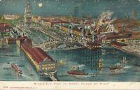 BROOKLYN NY – Coney Island by Night Glitter Covered Birdseye View Postcard – udb