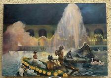 TRÈS GRAND & MAGNIFIQUE TABLEAU 1900..FÉERIE DE NUIT AUX FONTAINES DE VERSAILLES