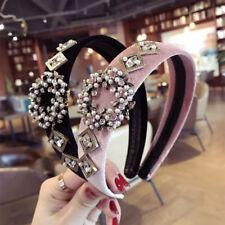 Women Fashion Crystal Pearl Hairhoop Headband Fabric Hairband Hair Accessories