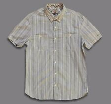 NEXT..LARGE..LAUNDERED STRIPED SHIRT DESIGN SHORT SLEEVE..L..BUTTON COLLAR TOP