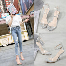 Womens Transparent Wedge High Heels Clear Sandals Platforms Strap Buckle Shoes