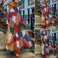 Oversize Femme Loose Impression Géométrique Manche longue Party Robe Dresse Maxi