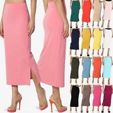 TheMogan S~3XL Side Slit High Waist Stretch Knit Mid Calf Long Pencil Skirt