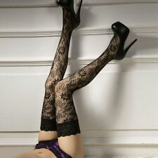 1 Pair Women Lace Floral Print Stay Up Thigh High Stocking Lingerie Pantyhose