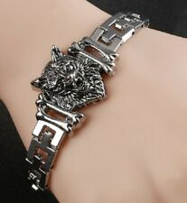STAINLESS STEEL SILVER WOLF HEAD CHAIN LINK BRACELET BANGLE CHARM WOLVES UK