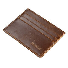 Men Crazy Horse Leather Slim Credit ID Card Holder Wallet Case Purse Bag Pouch #1 Light Coffee