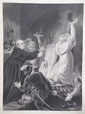Orginal c1850 Antiquarian Engraving of The Martyrdom of Archbishop Cranmer