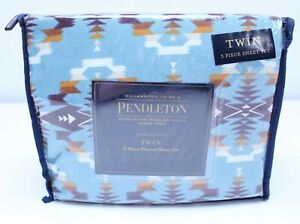 NEW Pendleton Twin Flannel Sheet Set 3 Piece Cotton Washable Avra Valley Teal