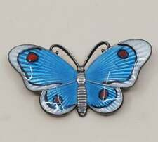 vtg Norway Sterling silver handmade brooch, 925 butterfly pin with blue enamel