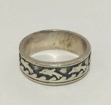 Vintage .925 Sterling Silver Ring with Dolphins Pattern