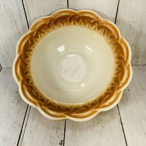 3031 Lane and Co. Van Nuys Calif  Basketweave Ceramic Bowl Some Wear Tan Beige
