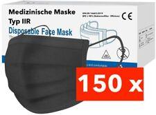 150 Medizinische OP Maske Typ IIR 2R Schwarz Mundschutz 3-lagig Einweg Masken