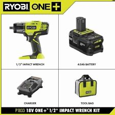 "RYOBI ONE+ Cordless Impact Wrench 3 Speed 1/2"" 18 Volt Kit W Battery Charger Bag"