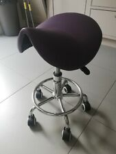 Purple Saddle Seat Stool with Wheels and adjustable height
