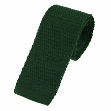 Men's Plain Bottle Green Wool Knitted Tie (U102/33)