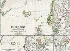 Echte146 Jahre alte Landkarte SWEDEN Norge Suomi Kirche im Mittelalter 1872