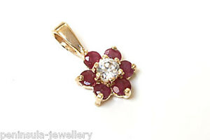 9ct Gold Ruby and CZ Cluster Necklace Pendant no chain Made in UK Gift Boxed