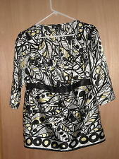 AB Studio Black Multi Print Bohemian Blouse Size S Casual and Long Sleeve