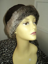 Bhs polyester/Faux Fur brown winter hat size 59 cm
