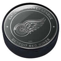 Detroit Red Wings Official Chrome Team Dome Hockey Puck - NEW