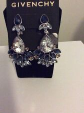 $150 Givenchy  Silver Tone  Blue Crystal Chand Statement Earring #728