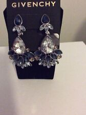 $150 Givenchy  Silver Tone  Blue Crystal Chand Statement Earring #728A