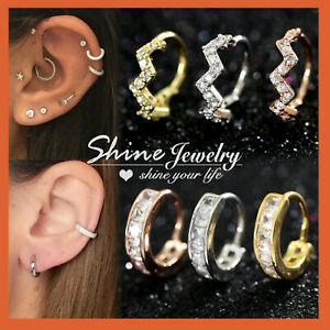 mini Diamonds EAR NOSE CARTILAGE SEPTUM RING PIERCING SMALL HOOP SLEEPER EARRING