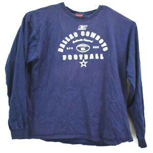 Reebok Men's 2XL Long Sleeve Crew Neck Dallas Cowboys Graphic Sweatshirt Navy