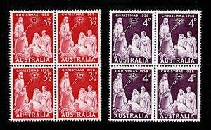 AUSTRALIA 1958 CHRISTMAS SET SCOTT #312-313 BLOCKS OF 4 MNH-OG