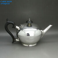 ANTIQUE NICE SOLID STERLING SILVER BACHELORS BULLET TEAPOT, WH&S BIRMINGHAM 1919