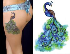Temporary Tattoo Large Blue Peacock Bird Feather Body Art Fake Waterproof Ladies
