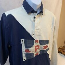 Vintage Polo By Ralph Lauren P Flag Heavy Cotton Pullover Blue White Nautical