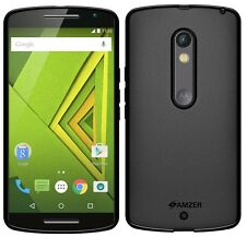 AMZER Exclusive Pudding Matte TPU Case Cover For Motorola Moto X Play - Black