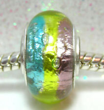 'HOLIDAY FOIL'- Turquoise/Lime/Purple Foil Stripes European Murano Glass Bead