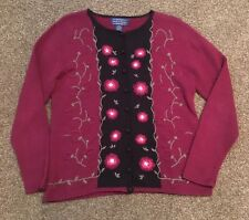 Willow Ridge Size Med Women's Button Up Sweater Burgundy & Black Floral