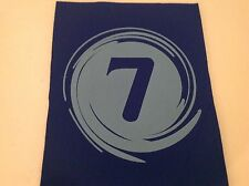 """Neoprene Sewing Patch Number 7 Swirl Royal Blue Rectangle 8"""" x 6"""" Soft"""
