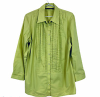 Maggie T Womens Green Long Sleeve Button Up Blouse Size 14