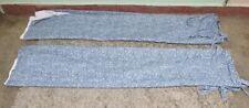 """Pair of Next Cotton Blue & White Floral Detail Tie Curtains Sz 53"""" W x 72"""" L"""