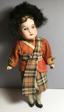 1909 Antique Germany Bisque Doll Scottish Outfit Dep R 13/0A 9� Open Mouth