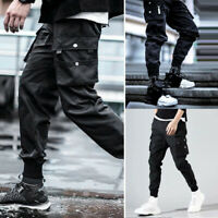 US Mens Pants Cool Black Combat Jogger Street Hip Hop Elastic Feet Long Trousers