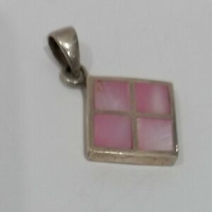 Vintage Solid Sterling Mother of Pearl  Pink With 15mm x 15mm