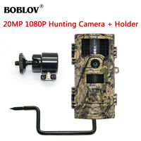 BOBLOV 1080P 20MP Night Vision Hunting Scouting Game Wildlife Camera w/Stand BRO